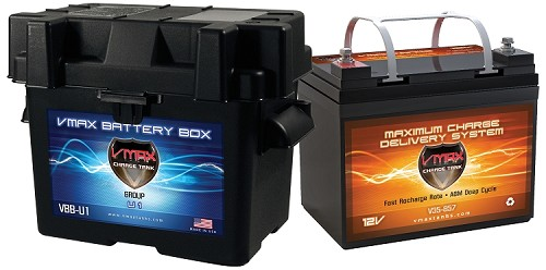 V35-857  + U1 Box Deep Cycle, High performance AGM Battery.