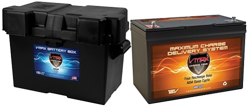 MR127-100  + B27 Box Deep Cycle, High Performance AGM Battery